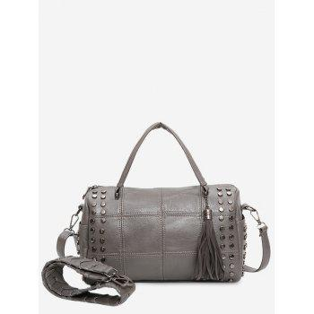 Stud Tassel Quilted Tote Bag - GRAY GRAY