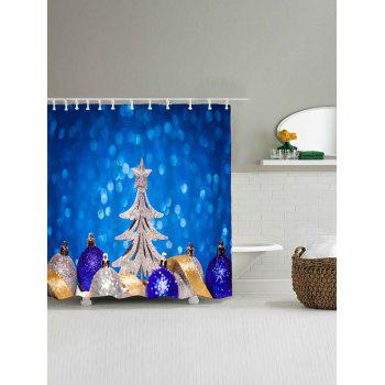 Christmas Balls Tree Waterproof Bath Curtain - W71 INCH * L79 INCH W71 INCH * L79 INCH