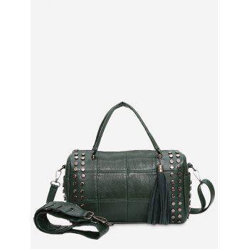 Stud Tassel Quilted Tote Bag - GREEN GREEN