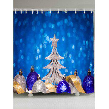 Christmas Balls Tree Waterproof Bath Curtain - BLUE W71 INCH * L79 INCH