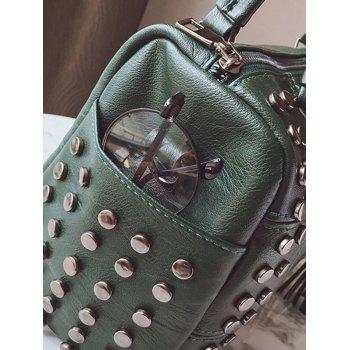 Stud Tassel Quilted Tote Bag -  GREEN