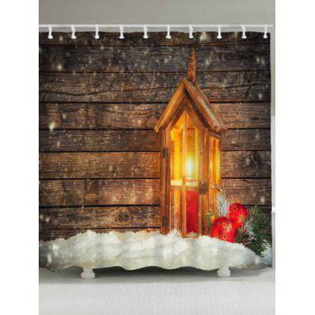 Christmas Candle Wood Waterproof Bath Curtain - WOOD COLOR WOOD COLOR