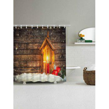 Christmas Candle Wood Waterproof Bath Curtain - WOOD COLOR W59 INCH * L71 INCH