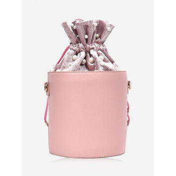 Faux Pearl Drawstring Bucket Bag - PINK PINK