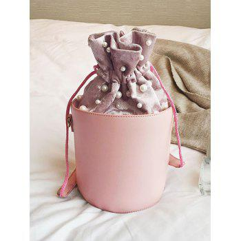 Faux Pearl Drawstring Bucket Bag -  PINK