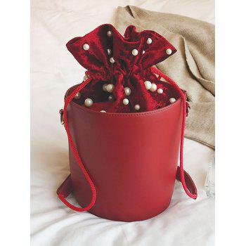 Faux Pearl Drawstring Bucket Bag -  RED