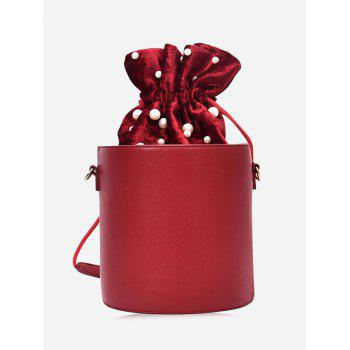 Faux Pearl Drawstring Bucket Bag - RED RED