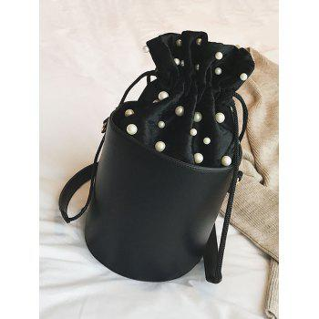 Faux Pearl Drawstring Bucket Bag - BLACK