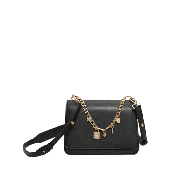 Star Heart Chain Crossbody Bag - BLACK
