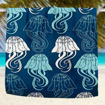 Jellyfish Pattern Water Absorption Bath Towel - BLUE 75*150CM