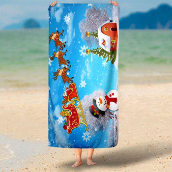 Christmas Sled Snowman Pattern Bath Towel - SKY BLUE SKY BLUE