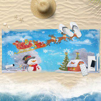Christmas Sled Snowman Pattern Bath Towel