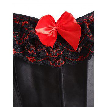 Bowknot Floral Lace Panel Plus Size Corset - Noir 5XL
