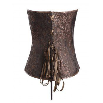 Plus Size Vintage Jacquard Zipper Corset - COFFEE 5XL