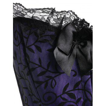 Steel Boned Ruffle Bowknot Plus Size Corset - PURPLE 5XL