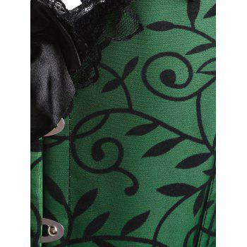 Steel Boned Ruffle Bowknot Plus Size Corset - GREEN 3XL