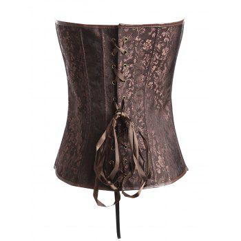 Plus Size Faux Leather Panel Vintage Jacquard Corset - COFFEE 3XL