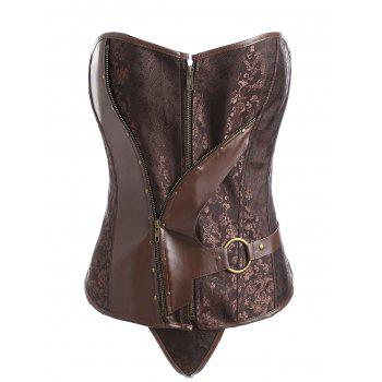 Plus Size Faux Leather Panel Vintage Jacquard Corset - COFFEE COFFEE