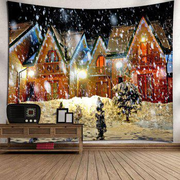 Christmas Snowy Evening Pattern Waterproof Wall Art Tapestry - COLORFUL W79 INCH * L71 INCH