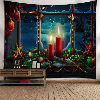 Romantic Christmas Candles Pattern Waterproof Wall Hanging Tapestry - COLORFUL W79 INCH * L71 INCH