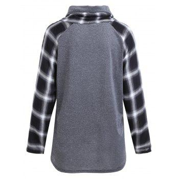 Plus Size Plaid Panel Turtleneck Tee - GRAY XL