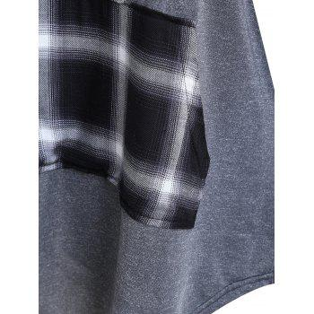 Plus Size Plaid Panel Turtleneck Tee - GRAY 3XL