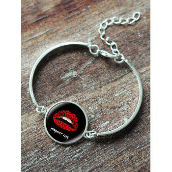 Halloween Round Lips Bangle Bracelet -  SILVER