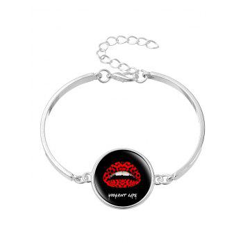 Halloween Round Lips Bangle Bracelet - SILVER SILVER