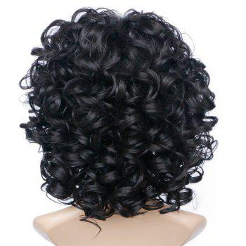 Short Side Bang Bouffant Curly Wave Synthetic Wig - JET BLACK