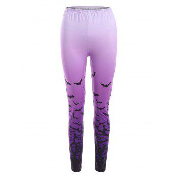 Ombre Bat Print Halloween Leggings - PURPLE PURPLE