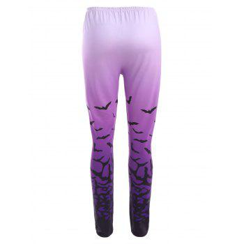 Ombre Bat Print Halloween Leggings - PURPLE M