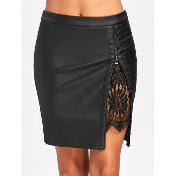 Lace Insert Fitted Faux Leather Skirt - BLACK L