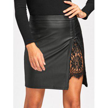 Lace Insert Fitted Faux Leather Skirt - XL XL