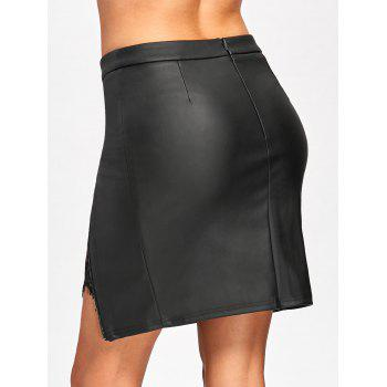 Lace Insert Fitted Faux Leather Skirt - BLACK 2XL