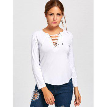 Plunge Lace Up Long Sleeve Tee - WHITE XL