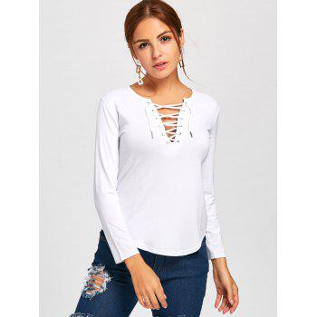 Plunge Lace Up Long Sleeve Tee - WHITE M