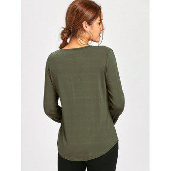 Plunge Lace Up Long Sleeve Tee - ARMY GREEN XL