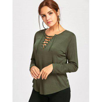 Plunge Lace Up Long Sleeve Tee - ARMY GREEN L