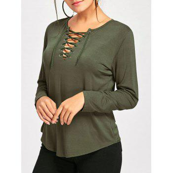 Plunge Lace Up Long Sleeve Tee - ARMY GREEN ARMY GREEN