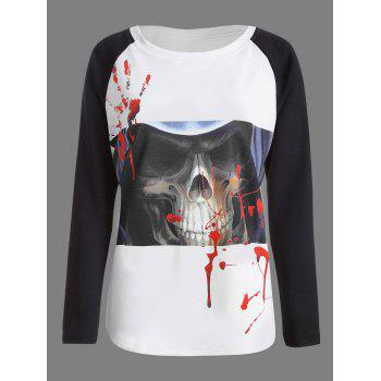 Halloween Skull Bloody Palm Print T-shirt - WHITE AND BLACK WHITE/BLACK