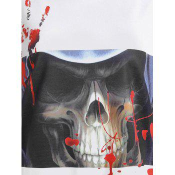 Halloween Skull Bloody Palm Print T-shirt - WHITE/BLACK L