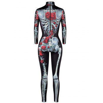 Halloween Rose Skeleton Print High Neck Jumpsuit - M M