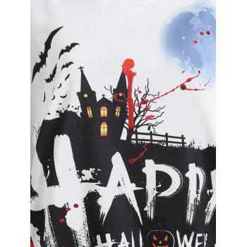 Happy Halloween Pumpkin Print Raglan Sleeve T-shirt - WHITE/BLACK L