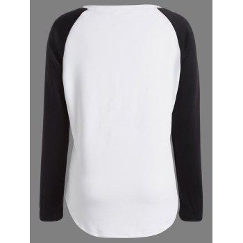 Happy Halloween Pumpkin Print Raglan Sleeve T-shirt - WHITE/BLACK XL