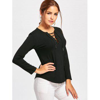 Plunge Lace Up Long Sleeve Tee - S S