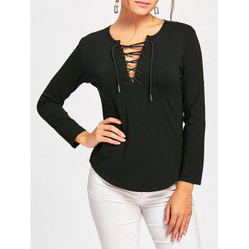 Plunge Lace Up Long Sleeve Tee - BLACK M