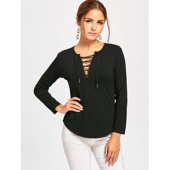 Plunge Lace Up Long Sleeve Tee - BLACK XL