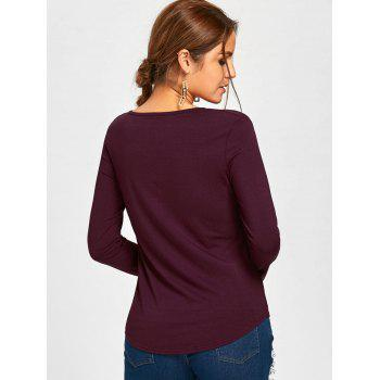 Plunge Lace Up Long Sleeve Tee - M M