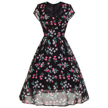 Sweetheart Neck Cherry Print Midi Swing Dress - BLACK BLACK