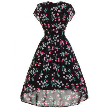 Sweetheart Neck Cherry Print Midi Swing Dress - BLACK M